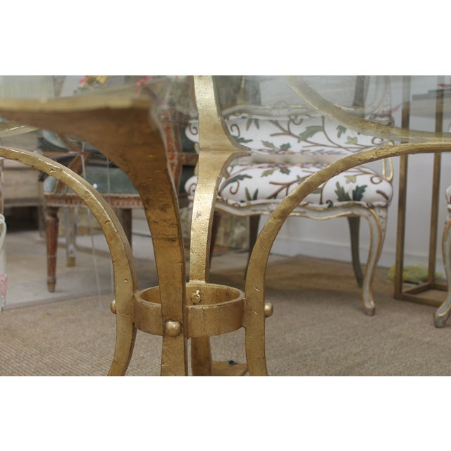 Gold Base & Glass Top Coffee Table For Sale - Image 4 of 7