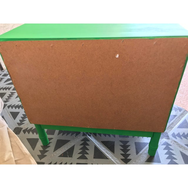 Mid-Century Modern 1960s Vintage Mid Century Modern Green Painted Faux Bamboo Nightstand For Sale - Image 3 of 9