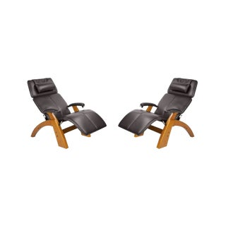 Contemporary Human Touch Black Leather Recliners - a Pair