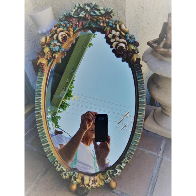 Barbola Flower Mirror For Sale - Image 9 of 9
