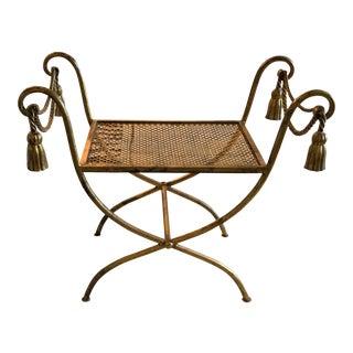 Gold Metal Italian Rope Tassel Bench For Sale