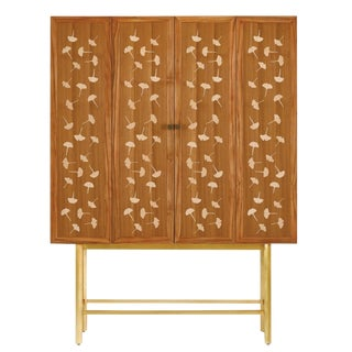 Currey & Co. Ginkgo Leaf Bohlend Cabinet/Bar For Sale