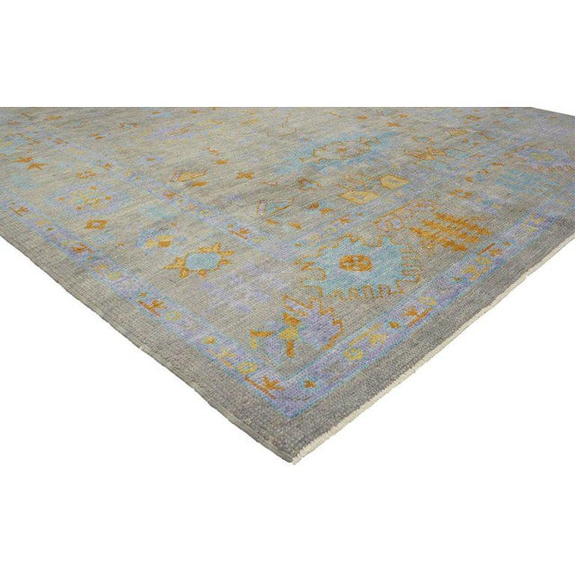 Abstract Contemporary Turkish Oushak Rug with Modern Style and Bright Colors For Sale - Image 3 of 4