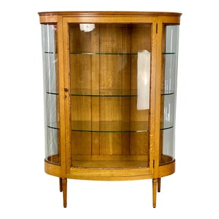 Vintage Rustic American Golden Oak Curved Glass Display Cabinet For Sale