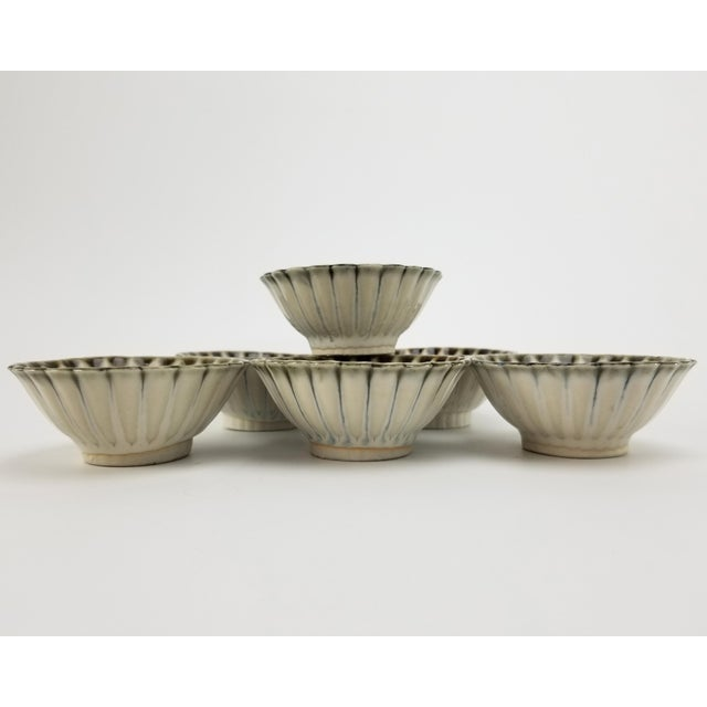 Mid 20th Century Vintage Japanese Soy Sauce Bowls - Bone China Hand Made Drip Glaze Set of (6) Bowl For Sale - Image 5 of 10