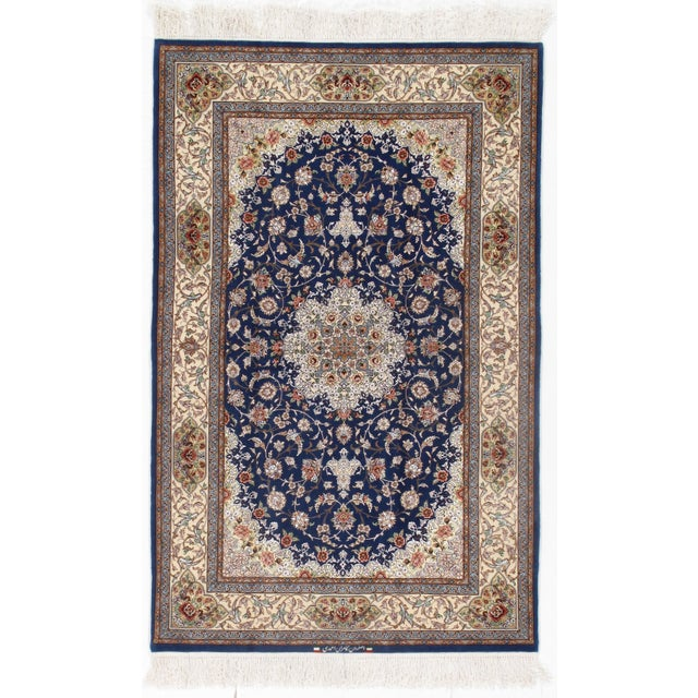 2010s Pasargad Persian Isfahan Korker Wool & Silk Highlighted Rug - 4′2″ × 6′7″ For Sale - Image 5 of 5