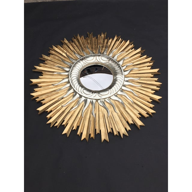 Large Italian hand carved sunburst mirror with yellow and white gold, 1960s, Italy.