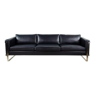 Milo Baughman for Thayer Coggin Mid-Century Modern Denim Blue Leather Sofa For Sale