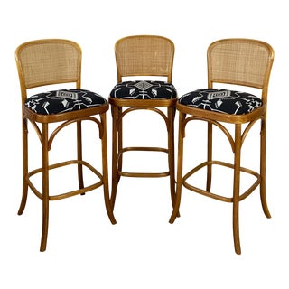 Vintage Tobe Reed Bent Wood and Cane Bar Stools With Pendleton- Set of 3 For Sale