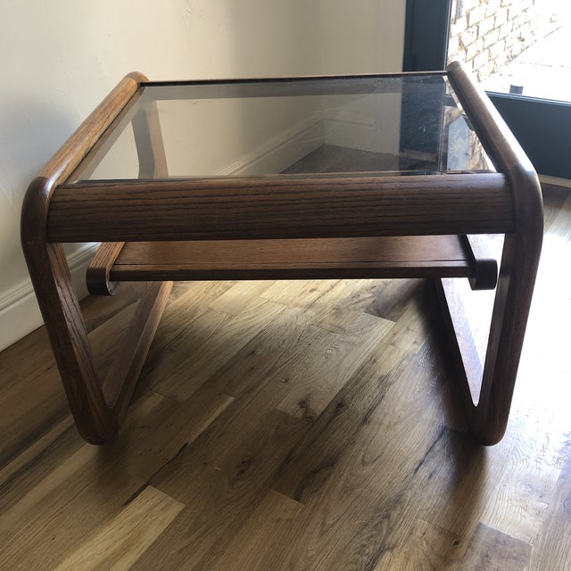 Beautiful and uniquely shaped Lou Hodges side/end table that can also be used as a nightstand. In wonderful vintage shape,...