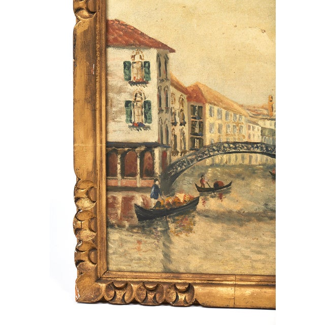 Gold Antique Oil on Canvas of Venice For Sale - Image 8 of 10