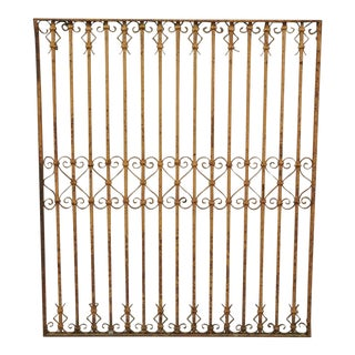 Antique Wrought Iron Art Nouveau Scrollwork Metal Garden Gate For Sale