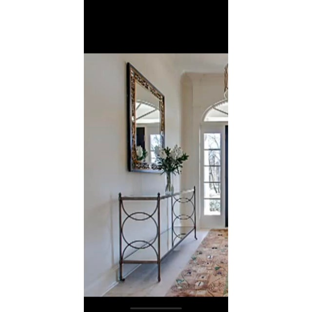 """Elegant Drexel Heritage console measuring 54"""" L x 35"""" H x 16""""D with bi-level glass shelves, bottom one is """"smoke..."""