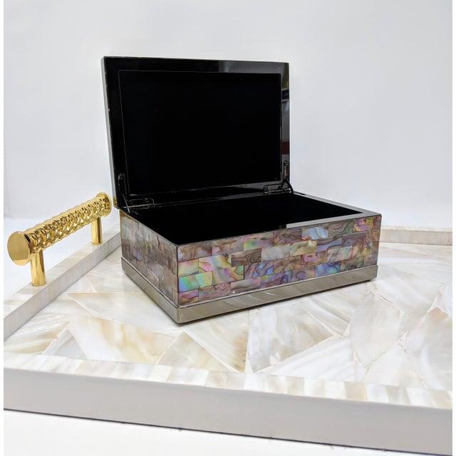 Jonathan Adler Inspired Polish Gun Metal & Abalone Shell Box For Sale In Providence - Image 6 of 12