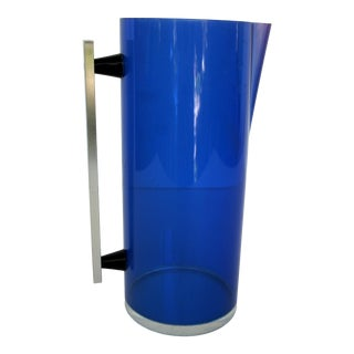Mid-Century Modern Cobalt Blue Lucite Pitcher With Aluminum Handle For Sale