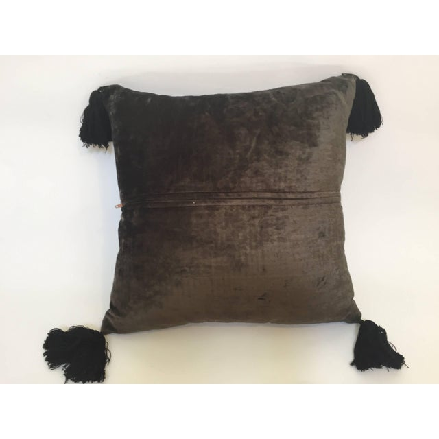 Moroccan Black Silk Decorative Pillow With Gold Metallic Threads and Tassels For Sale - Image 9 of 10