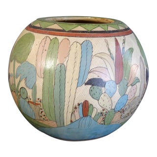 Mexican Petatillo Monumental Orb Vase For Sale