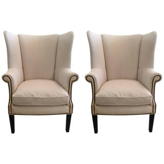 Transitional Sophisticated White Wingback Chairs - a Pair For Sale
