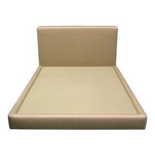 TraditionalTan Vinyl Padded King Size Panel Bedframe For Sale