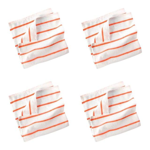 Pinstripe Cotton Napkins Cream & Coral - Set of 4 For Sale