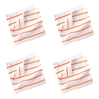 Pinstripe Napkins Cream & Coral - Set of 4 For Sale
