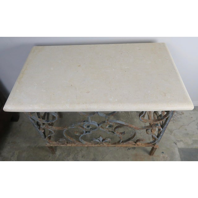 19th C. French Wrought Iron Console For Sale - Image 9 of 12