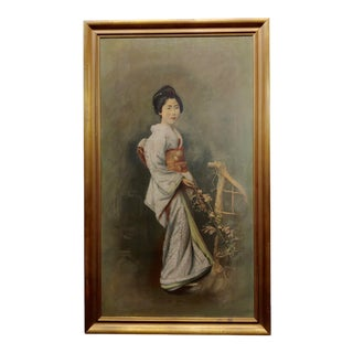 1920s Portrait of a Japanese Geisha - Oil Painting on Canvas For Sale