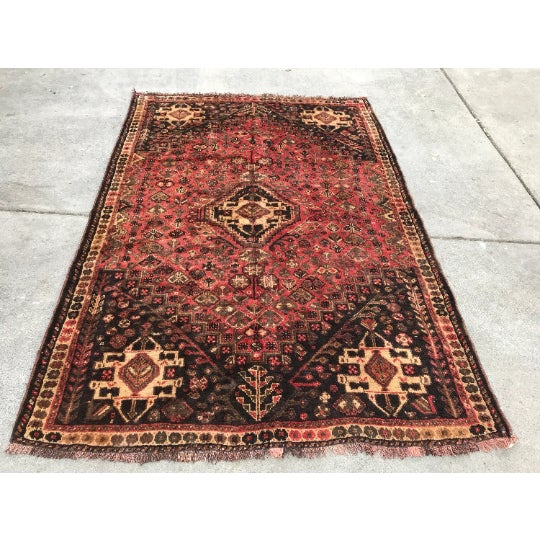 """1950s 1950s Traditional Shiraz Wool Rug - 5'3""""x7'10"""" For Sale - Image 5 of 5"""