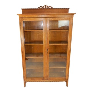 Antique Solid Oak Bookcase With Carved Crested Top