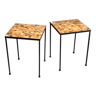 Mid-Century Paul McCobb Style Wrought Iron & Tile Tables, a Pair For Sale