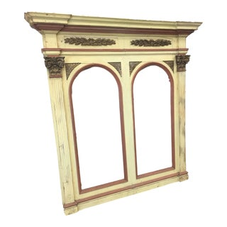 Painted Italian Antique Architectural Mirror Frame