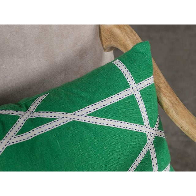 Modern Apple Green Linen Pillow with Lattice Work Made from Ribbon For Sale - Image 3 of 5