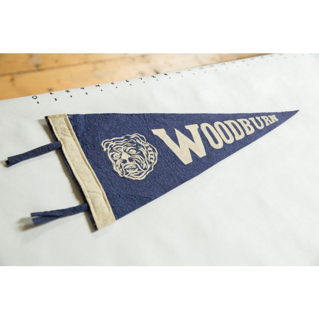 :: Vintage circa 1940s souvenir felt flag banner pennant from Woodburn high school, located in Oregon. Features white...