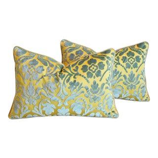 "Italian Silk Cut Velvet Floral Feather/Down Pillows 24"" X 16"" - Pair For Sale"