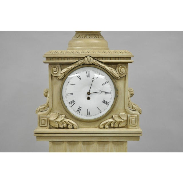 French Regency Empire Style Cream Painted Grandfather Case Standing Clock For Sale - Image 4 of 13