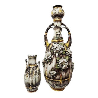Late 19th Century Hungarian Majolica Amphora Vases - a Pair For Sale