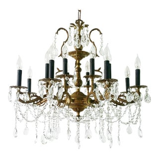 Old Hollywood Antique 1908 Crystal Chandelier For Sale