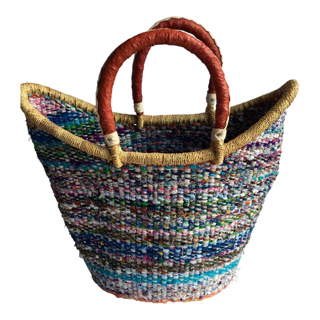 Large African Bolga Ghana Woven Basket For Sale
