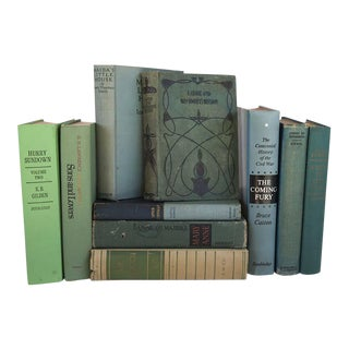 Potpourri of 8 Vintage Green Cover Books