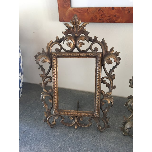 Early 20th Century Vintage Roccoco Victorian Brass Frames - Set of 4 For Sale - Image 5 of 8