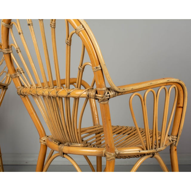 Tan French Bamboo & Rattan Dining Chairs- Set of 4 For Sale - Image 8 of 11