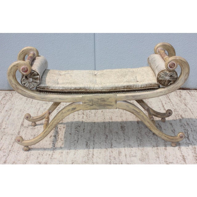 Wood 1940s French Scroll Arm Bench For Sale - Image 7 of 13