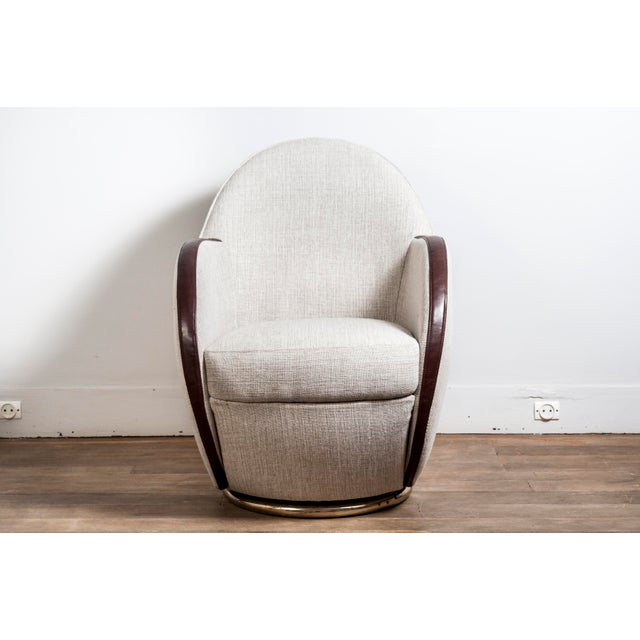 Art Deco Pair of Swivel Chairs, France, 1950s For Sale - Image 3 of 10