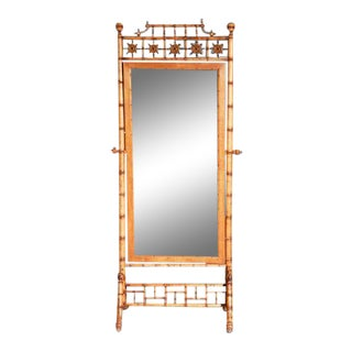 American Cheval Faux Bamboo Standing Floor Mirror For Sale