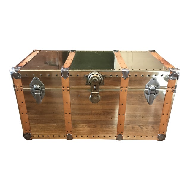 Vintage Brass Trunk With Leather Strapping For Sale