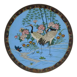 Meiji Period Japanese Cloisonne Plate With Cranes For Sale