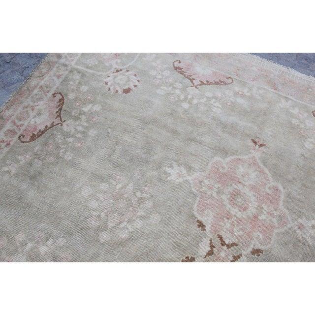 "Vintage Muted Turkish Oriental Rug Carpet - 10'11"" x 6'7"" - Image 6 of 10"