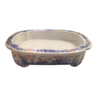 Chinese Blue and White Porcelain Footed Rectangular Planter. For Sale