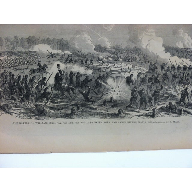 "American 1870s Antique ""The Battle of Williamsburg, Virginia - May 6, 1862"" Pictorial Battles of the Civil War Print For Sale - Image 3 of 4"