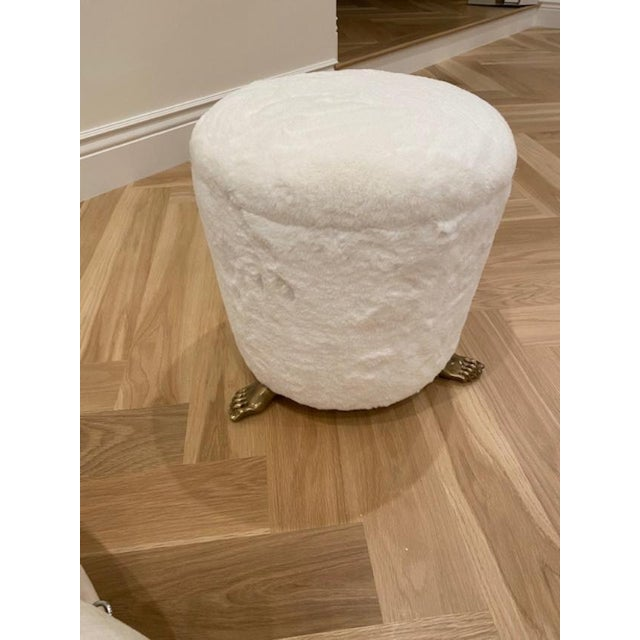 2020s Off White Solid Brass Footstool For Sale - Image 5 of 6
